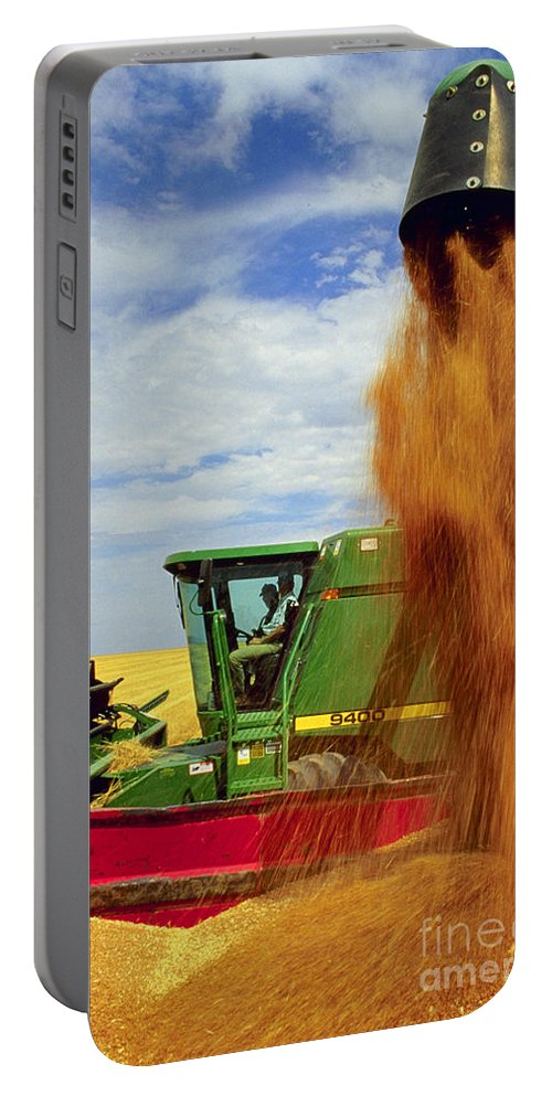 Wheat Portable Battery Charger featuring the photograph Wheat Harvest by Photo Researchers