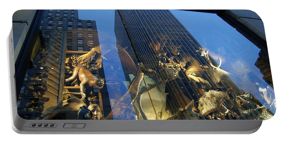 Reflections Portable Battery Charger featuring the photograph Monkeys On A Skyscraper by Stefa Charczenko