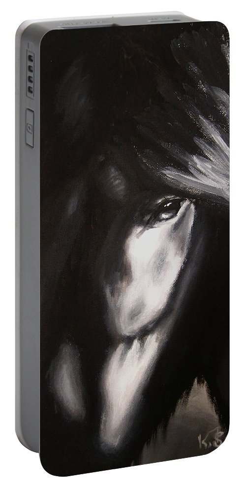 Whispers Portable Battery Charger featuring the painting Whispers In The Dark by Kayleigh Semeniuk