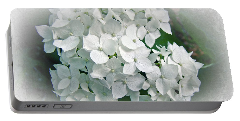 Hydrangea Portable Battery Charger featuring the photograph White Hydrangea by Mother Nature