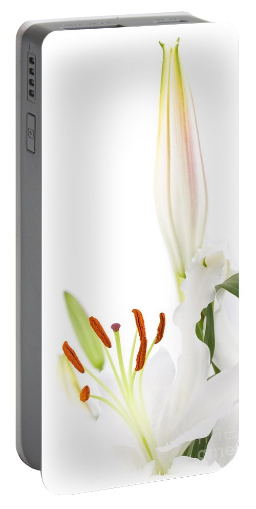 Lilly Portable Battery Charger featuring the photograph White Lillys And Background by Simon Bratt Photography LRPS