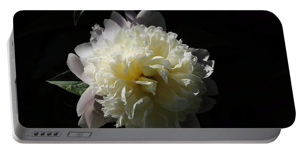 Peony Portable Battery Charger featuring the digital art White On Black Peony by Fred Zilch