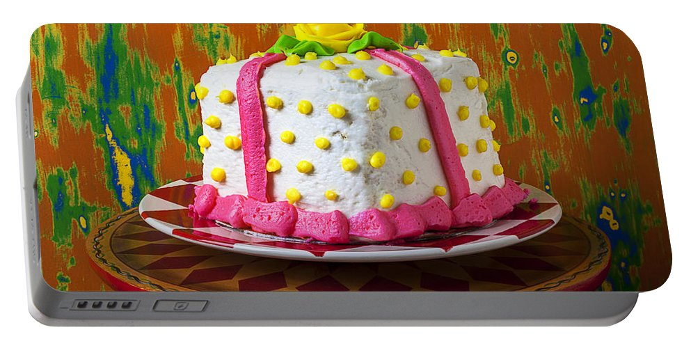 White Portable Battery Charger featuring the photograph White Present Cake by Garry Gay