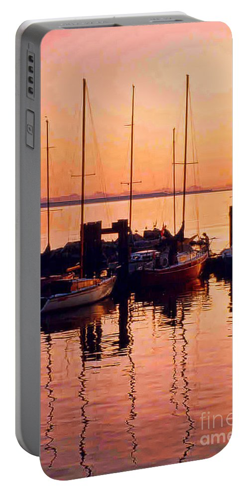 Boats Portable Battery Charger featuring the photograph White Rock Sailboats Hdr by Randy Harris
