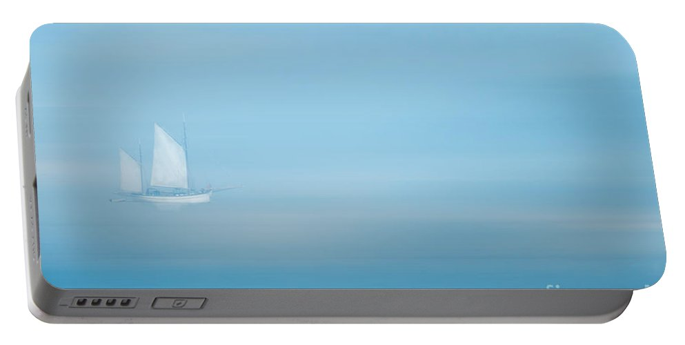 Boat Portable Battery Charger featuring the photograph White Sails In A Blue Mist by Ann Garrett