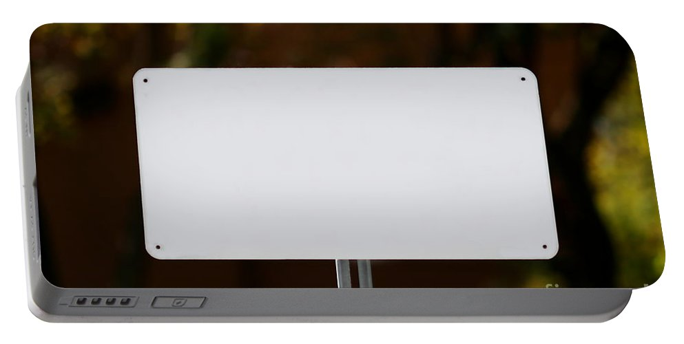 White Portable Battery Charger featuring the photograph White Sign by Henrik Lehnerer
