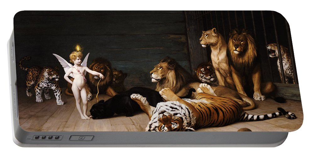Cupid Portable Battery Charger featuring the painting Whoever You Are Here Is Your Master by Jean Leon Gerome