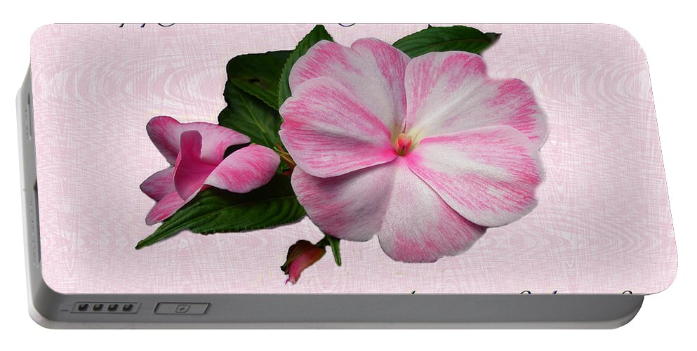 Birthday Portable Battery Charger featuring the photograph Wife Birthday Greeting Card - Pink Impatiens Blossom by Mother Nature
