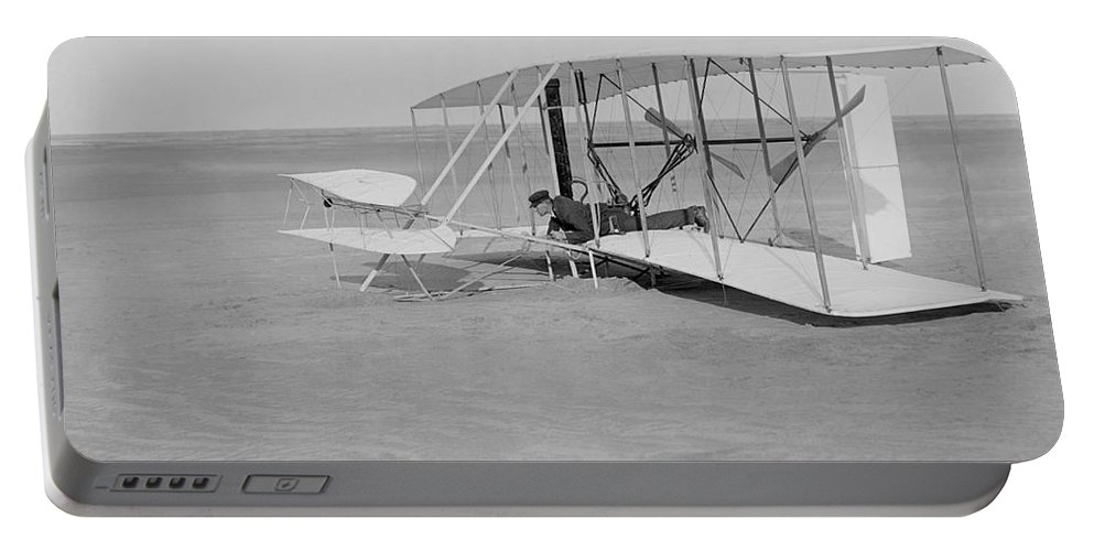 Historical Portable Battery Charger featuring the photograph Wilbur Wright Crash Landing In Wright by Photo Researchers