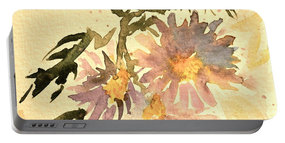 Aster Portable Battery Charger featuring the painting Wild Asters Aged Look by Beverley Harper Tinsley