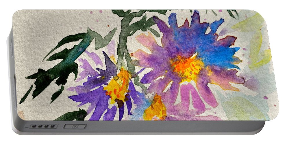 Aster Portable Battery Charger featuring the painting Wild Asters by Beverley Harper Tinsley