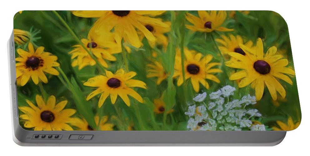 Flower Portable Battery Charger featuring the painting Wild Black Eyed Susan by Smilin Eyes Treasures