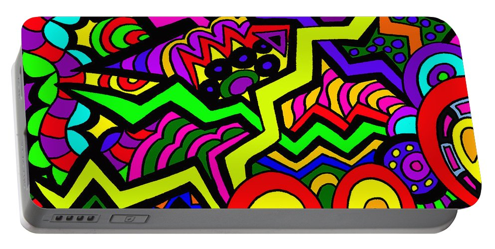 Migraines Portable Battery Charger featuring the painting Wild Night by Karen Elzinga