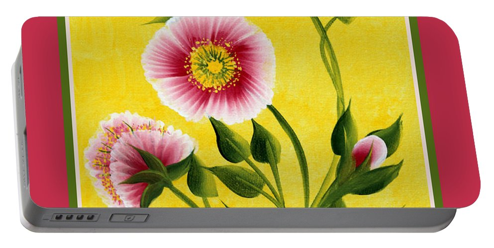 Wild Roses Portable Battery Charger featuring the painting Wild Roses On Yellow With Borders by Barbara Griffin