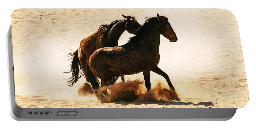 Action Portable Battery Charger featuring the photograph Wild Stallion Clash 3 by Alistair Lyne