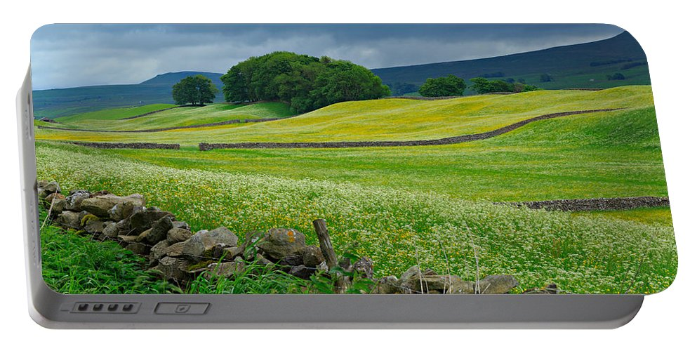 Wildflower Portable Battery Charger featuring the photograph Wildflower Meadow Near Hawes by Louise Heusinkveld