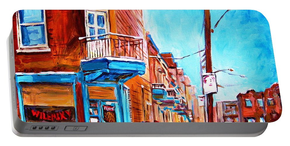 Cityscape Portable Battery Charger featuring the painting Wilensky Corner by Carole Spandau