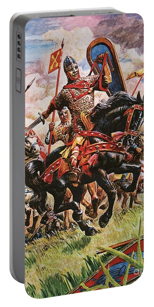 William The Conqueror; King William I; 1066; Normans; Armour; Knights; Invasion; Duke William; England; Battle Of Hastings; Hastings Portable Battery Charger featuring the painting William The Conqueror At The Battle Of Hastings by Peter Jackson