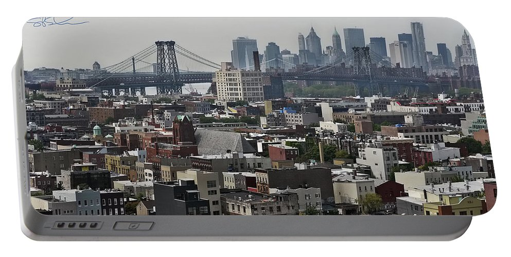 Panoramic Portable Battery Charger featuring the photograph Williamsburg Bridge by S Paul Sahm