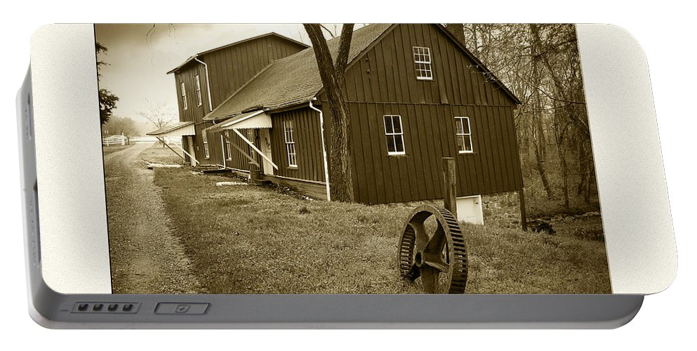 2d Portable Battery Charger featuring the photograph Williston Mill - Sepia by Brian Wallace