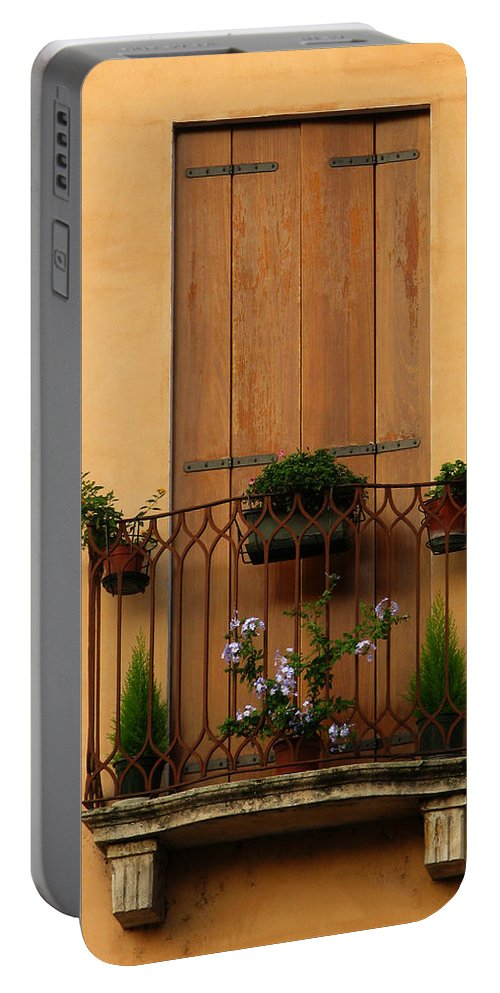 Window Portable Battery Charger featuring the photograph Window And Balcony In Vicenza by Greg Matchick
