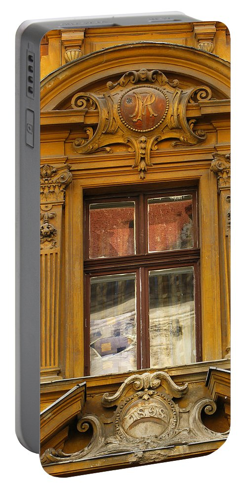 Architecture Portable Battery Charger featuring the photograph Window And Pediment In Ljubljana Slovenia by Greg Matchick