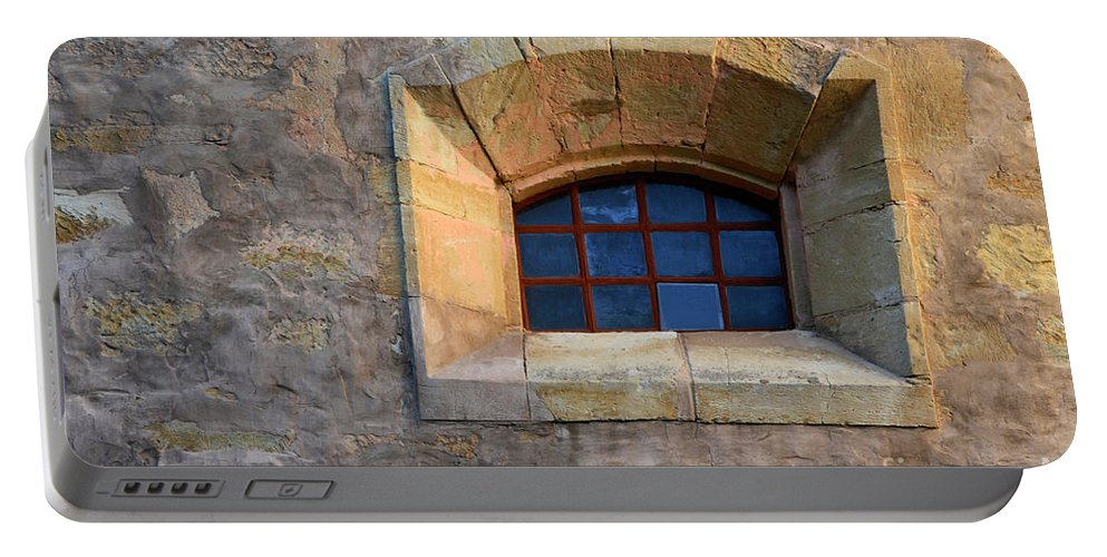 Coast Portable Battery Charger featuring the photograph Window Detail At Carmel by Bob Christopher