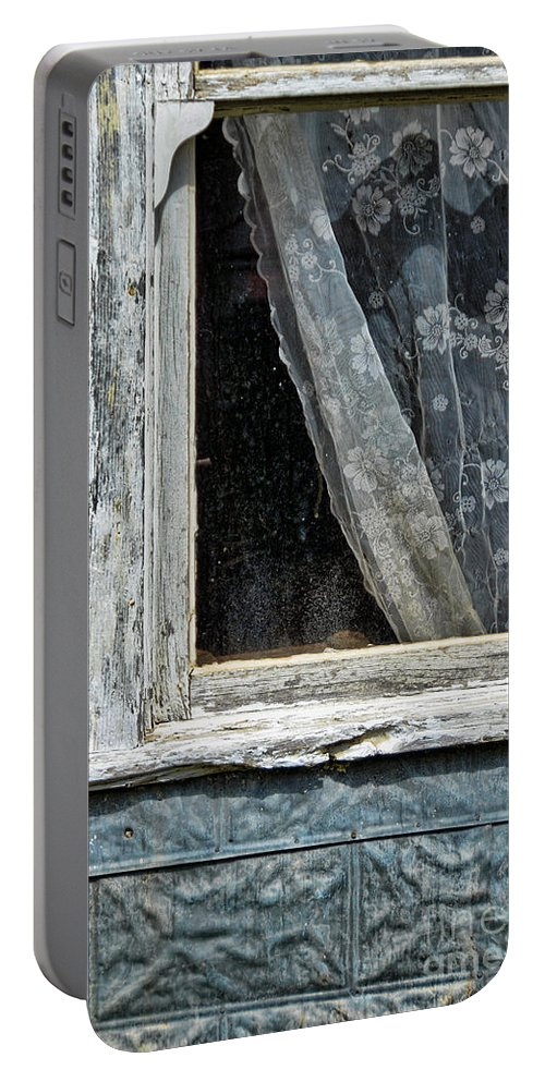 Curtain Portable Battery Charger featuring the photograph Window Of Old Abandoned Building by Jill Battaglia