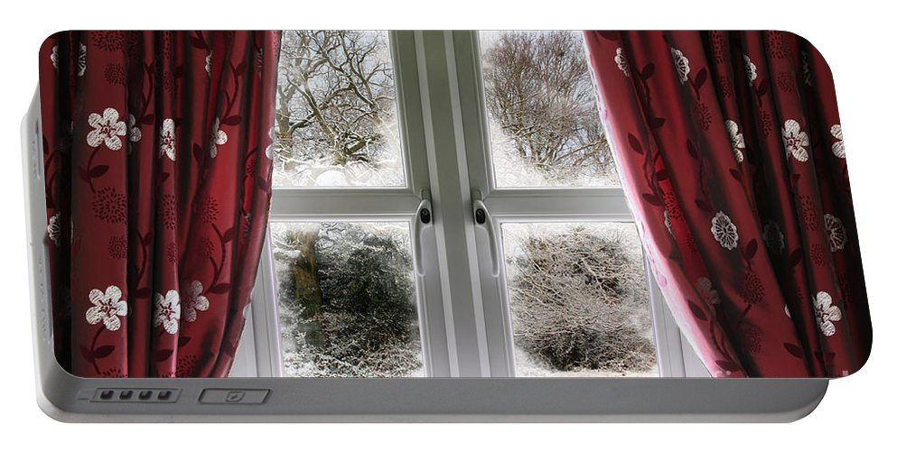 Window Portable Battery Charger featuring the photograph Window View To A Snow Scene by Simon Bratt Photography LRPS