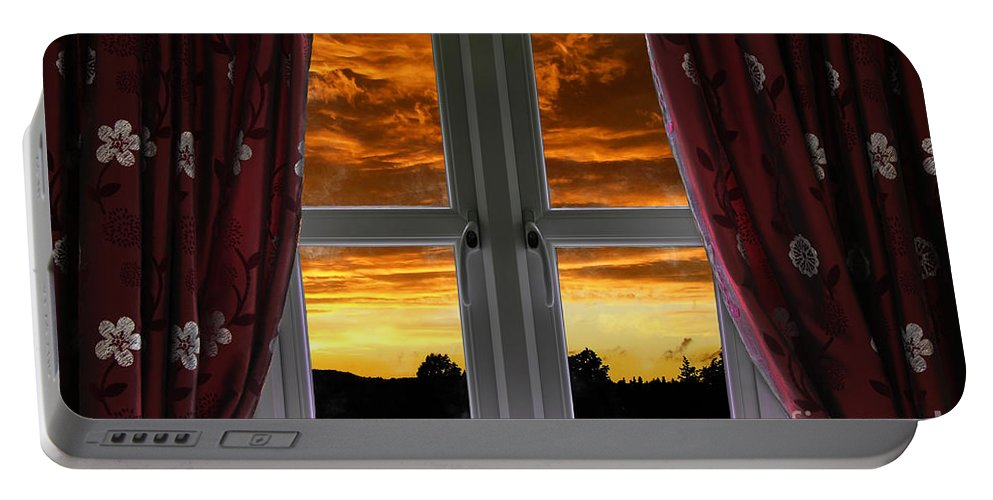 Window Portable Battery Charger featuring the photograph Window With Fiery Sky by Simon Bratt Photography LRPS