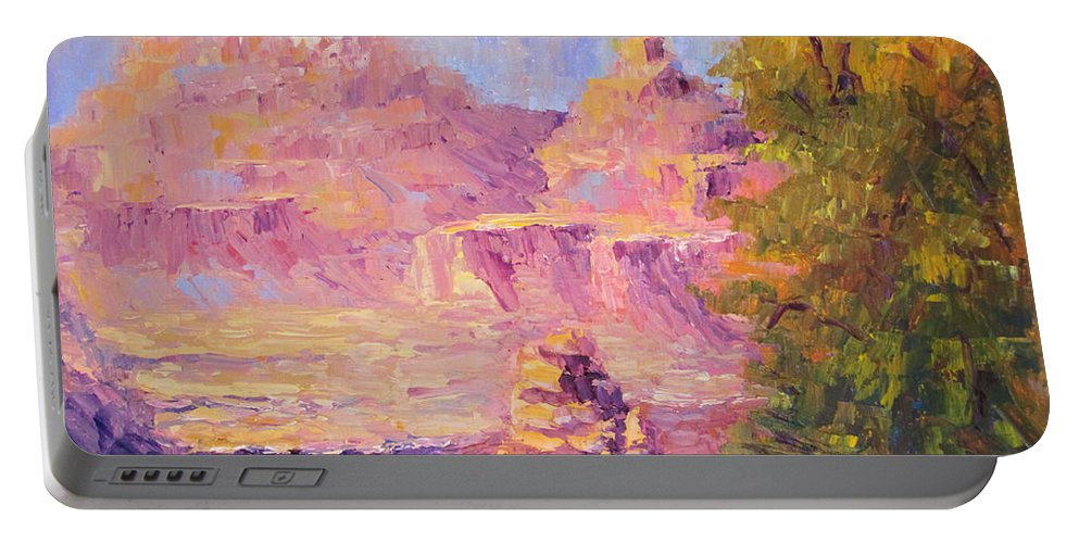 Grand Canyon Portable Battery Charger featuring the painting Windy Day In The Canyon by Terry Chacon