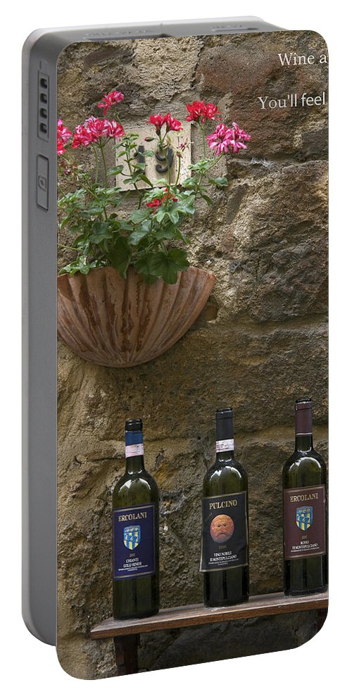 3 Bottles Portable Battery Charger featuring the photograph Wine A Bit by Sally Weigand