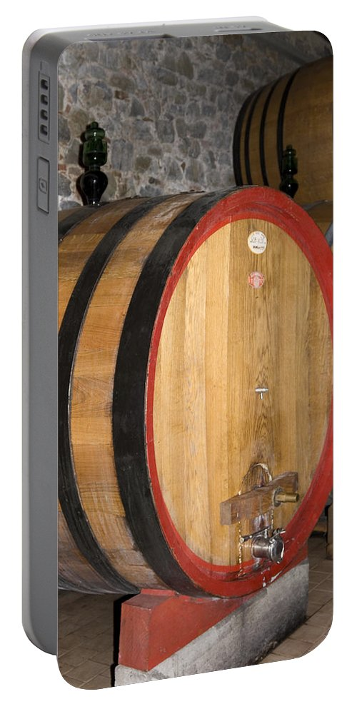Wood Wine Barrels Portable Battery Charger featuring the photograph Wine Aging by Sally Weigand