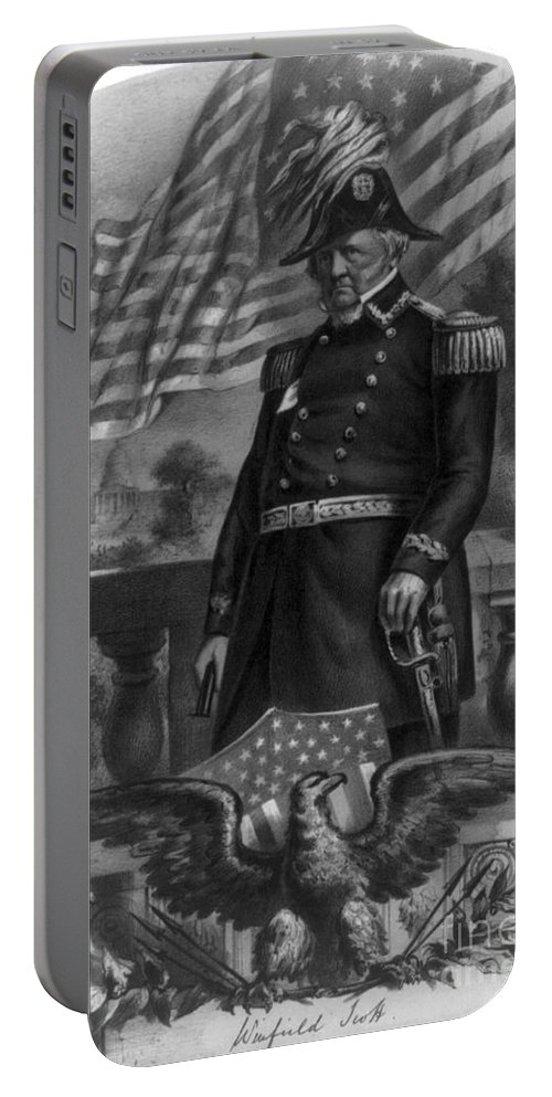Government Portable Battery Charger featuring the photograph Winfield Scott, American Army General by Photo Researchers