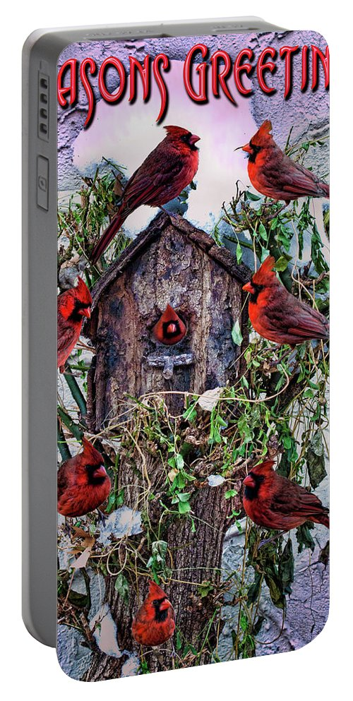 Holiday Card Portable Battery Charger featuring the photograph Winter Birdhouse by Chris Lord