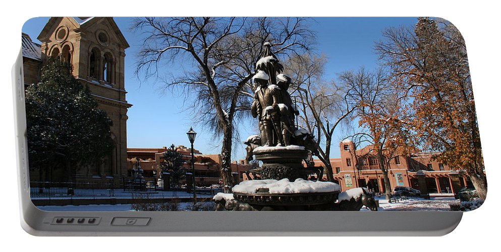Santa Fe Portable Battery Charger featuring the photograph Winter In Cathedral Park Santa Fe by Elizabeth Rose