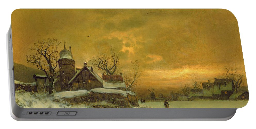 Sun Sunset Portable Battery Charger featuring the painting Winter Landscape by Friedrich Nicolai Joseph Heydendahl
