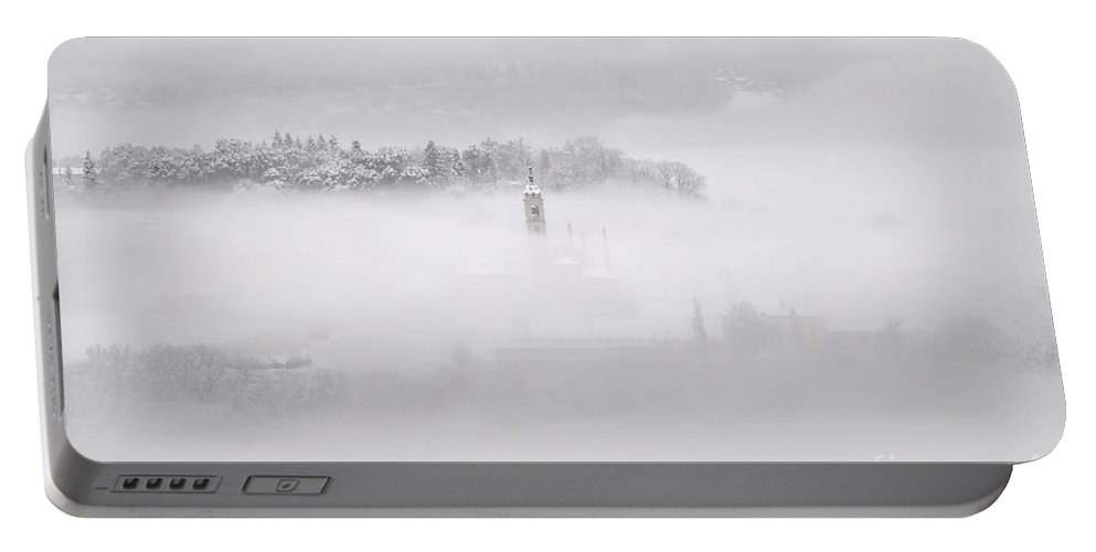 Winter Portable Battery Charger featuring the photograph Winter Landscape With Fog by Mats Silvan