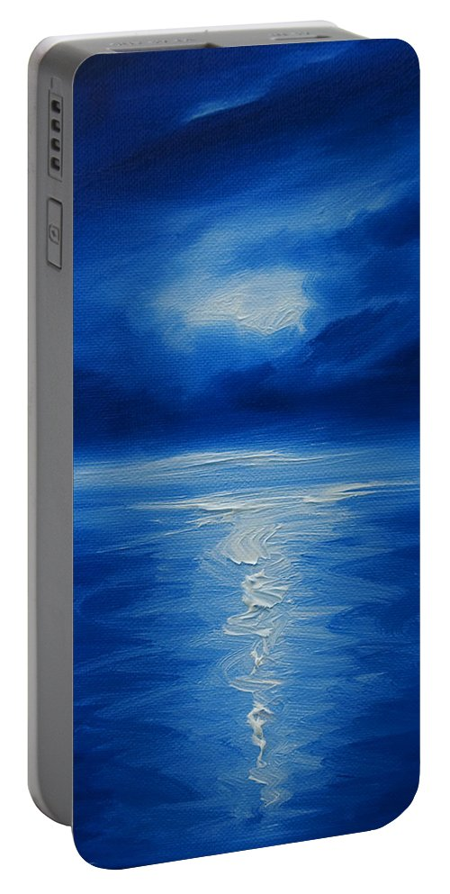 Nature; Lake; Sunset; Sunrise; Serene; Forest; Trees; Water; Ripples; Clearing; Lagoon; James Christopher Hill; Jameshillgallery.com; Foliage; Sky; Realism; Oils; Moon; Moonlight; Reflection; Blue; Lapis; Colbalt Blue Portable Battery Charger featuring the painting Winter Moon Vi by James Christopher Hill