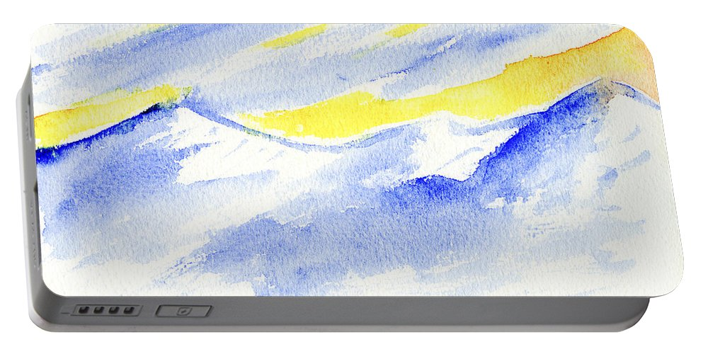 Winter Portable Battery Charger featuring the painting Winter Mountains by Hakon Soreide
