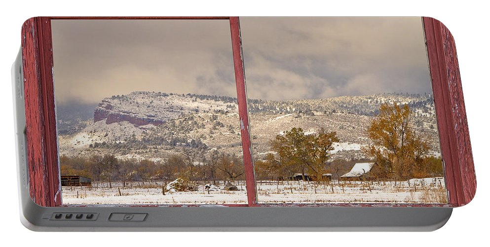 Window Frame Art' Portable Battery Charger featuring the photograph Winter Rocky Mountain Foothills Red Barn Picture Window Frame Ph by James BO Insogna