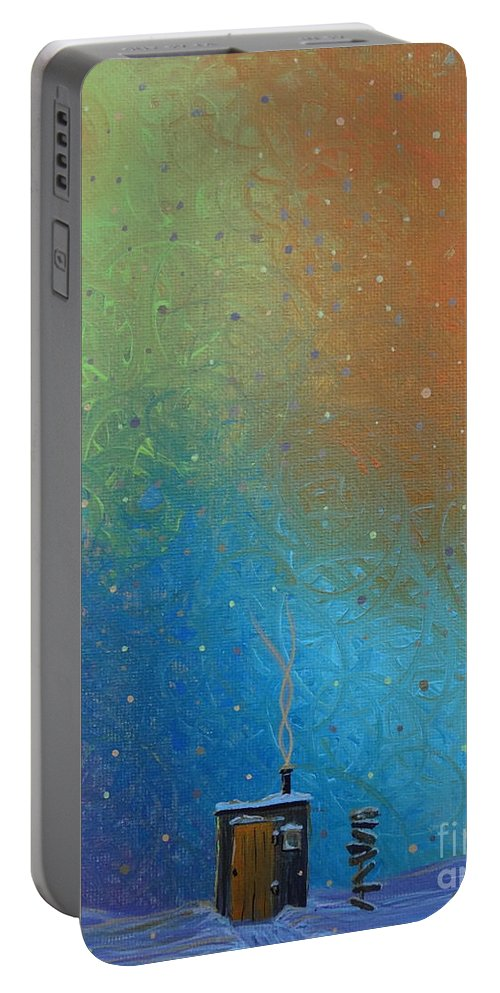 Winter Solitude 10 Portable Battery Charger featuring the painting Winter Solitude 10 by Jacqueline Athmann