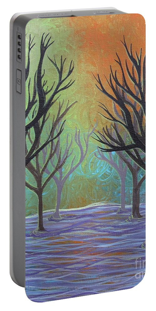 Winter Solitude 3 Portable Battery Charger featuring the painting Winter Solitude 11 by Jacqueline Athmann