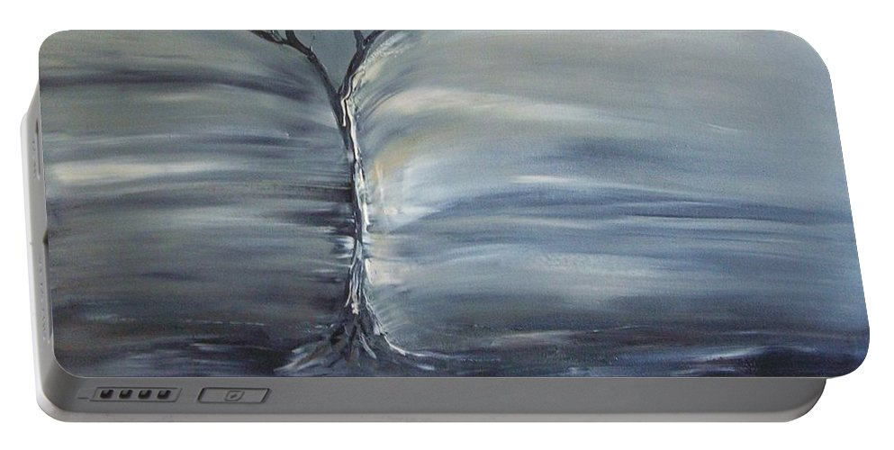 Tree Portable Battery Charger featuring the painting Winter Storm by Lesley Anne Cornish