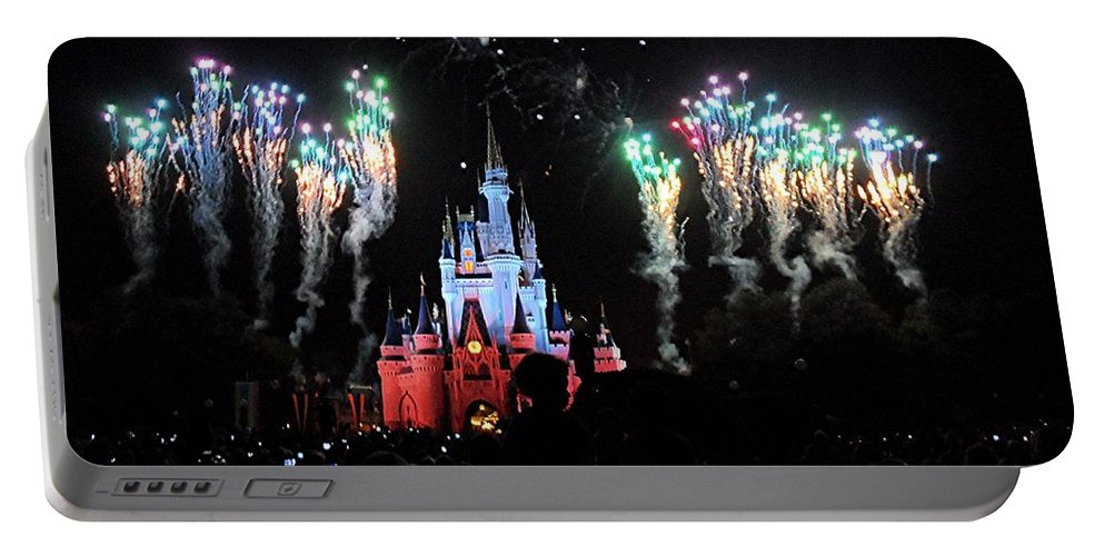Magic Kingdom Portable Battery Charger featuring the digital art Wishes At The Magic Kingdom by Barkley Simpson