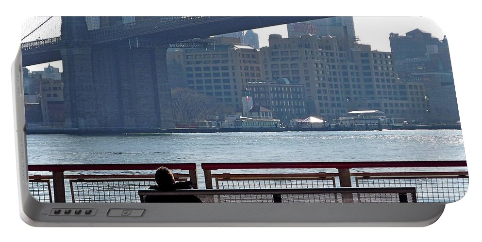 New York Portable Battery Charger featuring the photograph With Ny In Front Of Me by Valentino Visentini