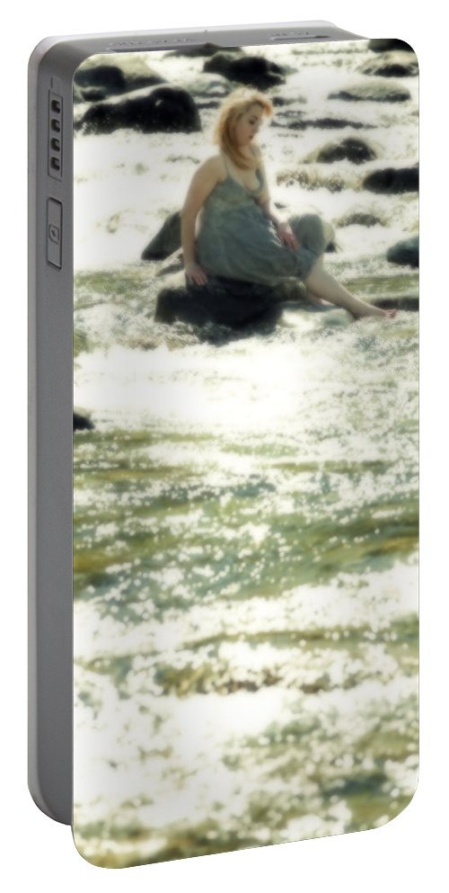 Young Portable Battery Charger featuring the photograph Woman Admist A Torrent by Joana Kruse