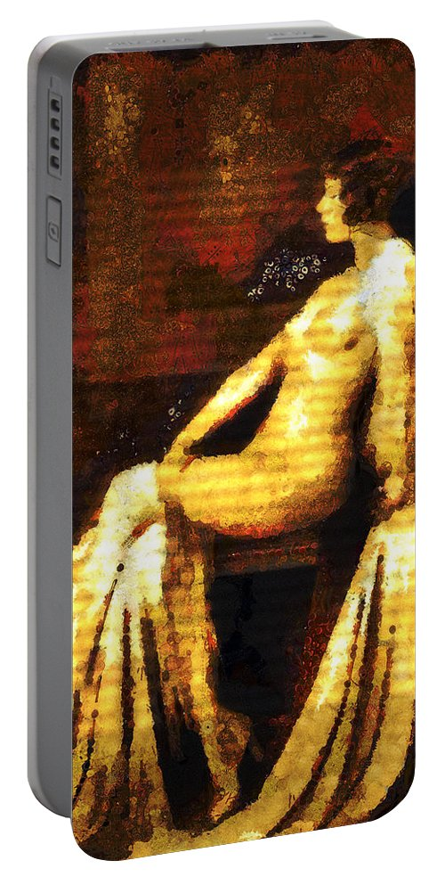 Vintage Portable Battery Charger featuring the mixed media Woman Of The Night by Georgiana Romanovna