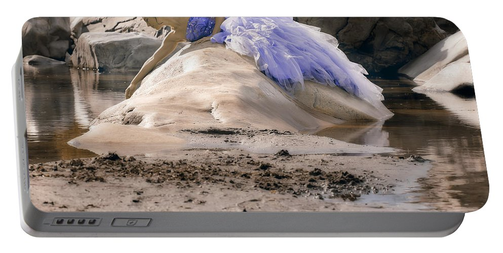 Female Portable Battery Charger featuring the photograph Woman On A Rock by Joana Kruse