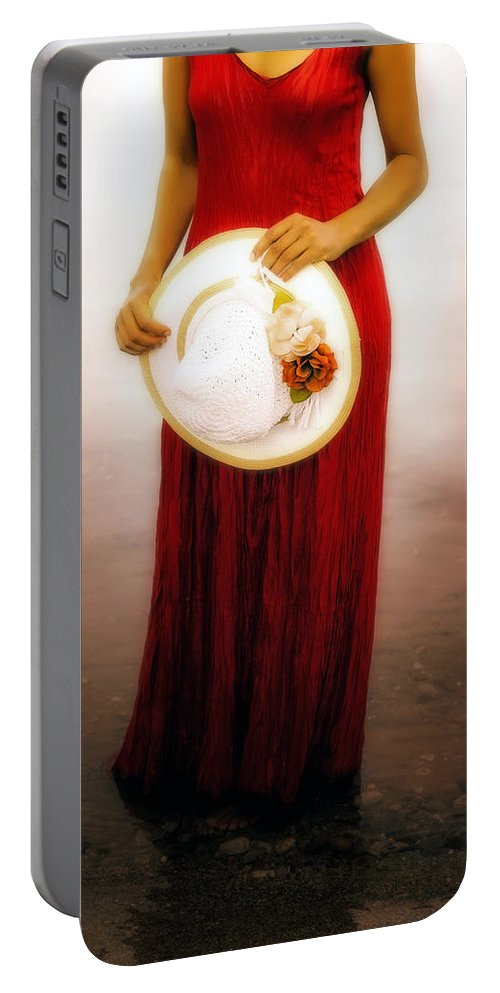 Woman Portable Battery Charger featuring the photograph Woman With Straw Hat by Joana Kruse